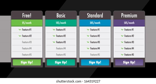 Web site subscription or pricing plans tables vector illustration