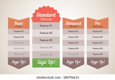 Web site subscription or pricing retro plan vector illustration