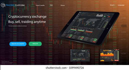 Web site template. Forex market, news and analysis. Binary option. Application screen for trading. Candles and indicators. HUD UI for business app. Futuristic virtual user interface. Infographics.