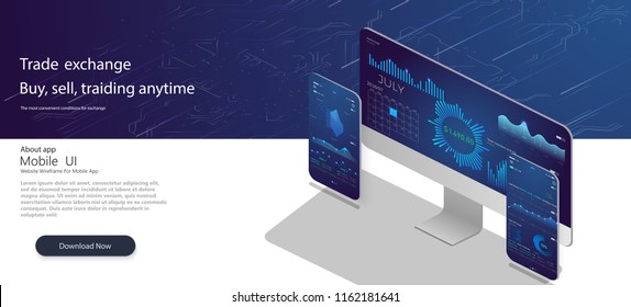 Web site template. Forex market, news and analysis. Binary option. Application screen for trading. Online statistics and data Analytics.Digital money market, investment, finance and trading.