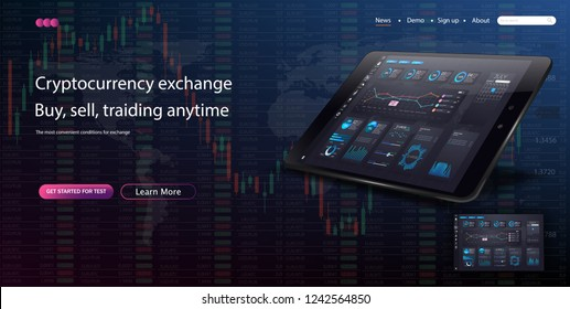 Web site template. Forex market, news and analysis. Binary option. Application screen for trading. Modern vector illustration concepts for website and mobile website development. Vector illustration