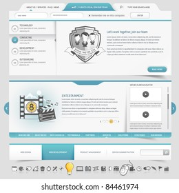 Web site template navigation elements with icons set