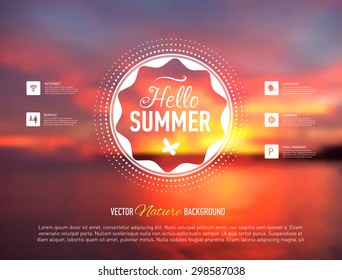 Web site template. Seaside blurred background. Vector illustration.