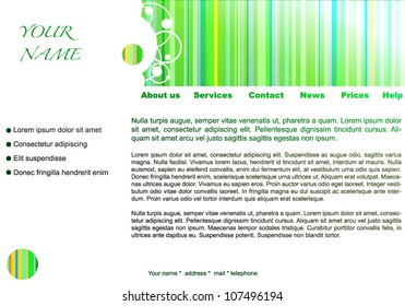 Web site vector design template : Green strips. EPS10