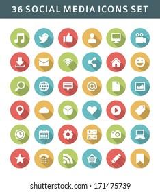 Web site vector icons set shadow effect. Social media design elements for design.