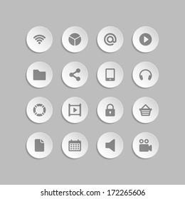 Web site vector icons set bend paper effect. Vector design elements for design.