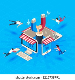 Web store customer attraction. Attract buyers, isometric retain loyal clients and social media business marketing, acquisition loyalty retention customers reputation attractions vector illustration