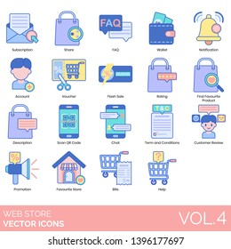 Web store icons including subscription, share, faq, wallet, notification, account, voucher, flash sale, rating, favorite product, qr code, chat, term, condition, customer review, promotion, bill, help