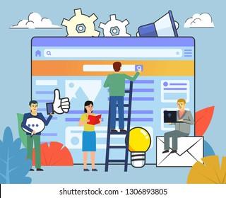 Web studio, developers team. People working near big web page. Website creation process. Business poster for presentation, social media, banner, web page. Flat design vector illustration