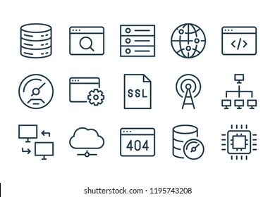 Web support line icons. Vector linear icon set.