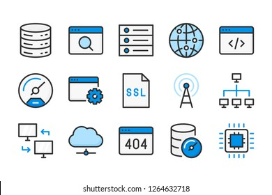 Web support and server connection  color line icons. Database and web development web vector linear colorful icon set. Isolated icon collection on white background.