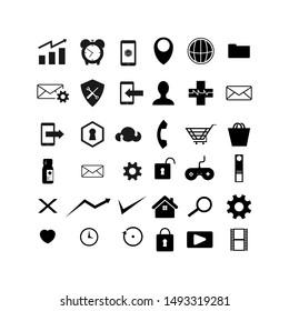 Web symbol icon set vector image design on white background. Web business symbol logo  vector design