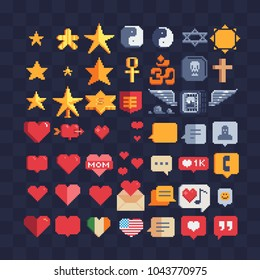 Web symbols pixel art 80s style icons set. Speech bubble, like, hearts and stars sign Isolated vector illustration. Game assets 8-bit sprite sheet. Element design for mobile app, web, sticker, logo.