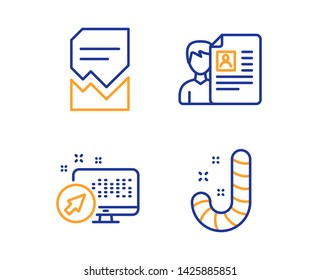 Web system, Corrupted file and Job interview icons simple set. Candy sign. Computer, Damaged document, Cv file. Lollypop. Business set. Linear web system icon. Colorful design set. Vector