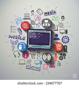 Web technologies collage with icons background. Vector illustration