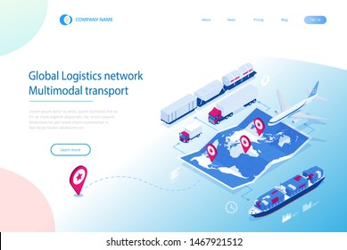 Web template banner Global logistics network. Isometric illustration of air cargo trucking rail transportation maritime shipping On-time delivery. Vehicles designed to carry large numbers of cargo.