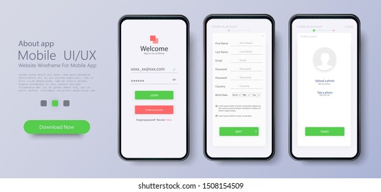 Web template and elements for registration on the website or mobile application. Account registration. Create new account. Signup screen. Notification screens. Registration
