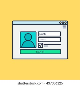 Web Template, Web Elements for site form of login to account. Vector
