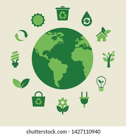 Web template flat icons set in environmental direction. Green planet, waste recycling, flowers, plants, eco-friendly energy, green houses, wood.