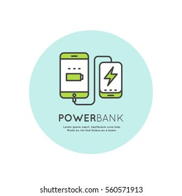 Web Template Power Bank Battery Phone Charger Minimalistic Vector Flat Line Outline Stroke Icon Pictogram Symbol
