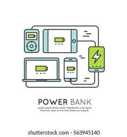 Web Template Power Bank Battery Phone, Laptop, Computer, Tablet and Player, Charger Minimalistic Vector Flat Line Outline Stroke Icon Pictogram Symbol