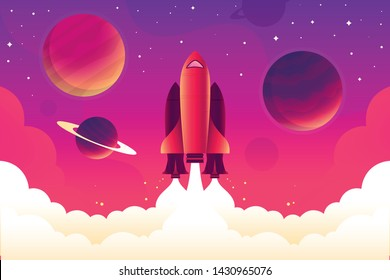 Web template taking off and already flying rocket in space. Beautiful and bright rocket made in a unique style.