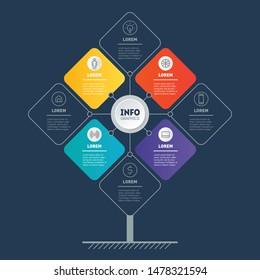 Web Template of tree, info chart or diagram. Infographic of technology or education process with four or eight steps. Brochure design template. Business presentation concept with 4 or 8 options.