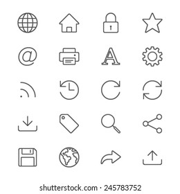 Web thin icons
