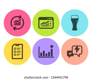 Web traffic, Efficacy and Update data icons simple set. Checklist, Beer glass and Lightning bolt signs. Website window, Business chart. Business set. Flat web traffic icon. Circle button. Vector
