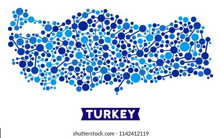 Web Turkey map composition. Abstract territorial scheme of links in blue shades. Vector Turkey map is composed of internet links. Concept of provider ditributor.