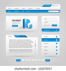 Web UI Controls Elements Gray And Blue: Navigation Bar, Buttons, Slider, Message Box,  Loader, Pagination, Menu, Accordion, Tabs, Login Form, Search