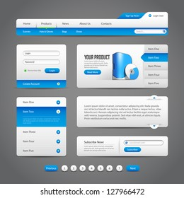 Web UI Controls Elements Gray And Blue On Dark Background 1: Navigation Bar, Buttons, Slider, Message Box, Pagination, Menu, Accordion, Tabs, Login Form, Search, Subscribe, Menu