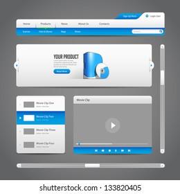 Web UI Controls Elements Gray And Blue On Dark Background 2: Navigation Bar, Buttons, Slider, Message Box, Menu, Tabs, Login, Search, Menu, Scroll, Player, Video, Progress Bar, Play, Stop