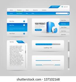 Web UI Controls Elements Gray And Blue On Light Background 3: Navigation Bar, Buttons, Slider, Message Box, Menu, Tabs, Login, Search, Menu, Scroll, Progress Bar, Accordion