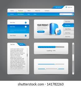 Web UI Controls Elements Gray And Blue On Dark Background 3: Navigation Bar, Buttons, Slider, Message Box, Menu, Tabs, Login, Search, Menu, Scroll, Progress Bar, Accordion