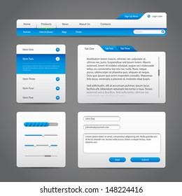 Web UI Controls Elements Gray And Blue On Dark Background 4: Navigation Bar, Buttons, Slider, Message Box, Menu, Tabs, Input Text Area, Search, Scroll, Progress Bar, Accordion