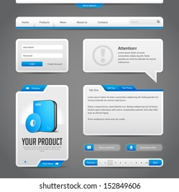 Web UI Controls Elements Gray And Blue On Dark Background: Navigation Bar, Buttons, Login Form, Slider, Message Box, Menu, Tabs, Input Area, Search, Scroll, Download, Tooltip, Pagination, Download