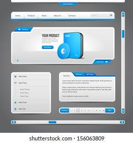 Web UI Controls Elements Gray And Blue On Dark Background: Navigation Bar, Buttons, Form, Slider, Message Box, Menu, Tabs, Search, Scroll, Download, Pagination, Download
