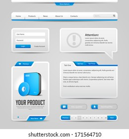 Web UI Controls Elements Gray And Blue On Light Background: Navigation Bar, Buttons, Login Form, Slider, Message Box, Menu, Tabs, Input Area, Search, Scroll, Download, Tooltip, Pagination, Download