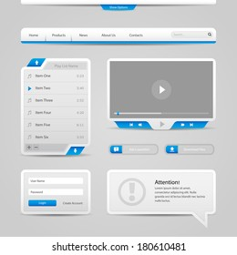 Web UI Controls Elements Gray And Blue On Light Background: Navigation Bar, Buttons, Login Form, Play List, Message Box, Menu, Video Player, Play, Stop, Search, Download, Tooltip