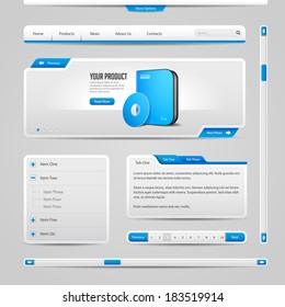 Web UI Controls Elements Gray And Blue On Light Background: Navigation Bar, Buttons, Form, Slider, Message Box, Menu, Tabs, Search, Scroll, Download, Pagination, Download