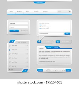 Web UI Controls Elements Gray And Blue On Light Background: Navigation Bar, Buttons, Form, Slider, Message Box, Menu, Tabs, Search, Scroll, Download, Pagination, Chat, Play List
