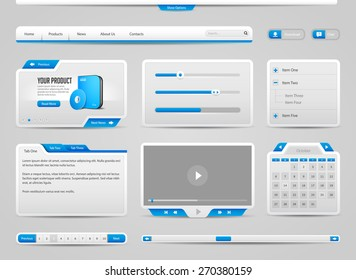 Web UI Controls Elements Gray And Blue: Navigation Bar, Buttons, Form, Slider, Menu, Tabs, Search, Scroll, Download, Pagination, Calendar, Equalizer, Progress, Video Player, Calendar, Login Form