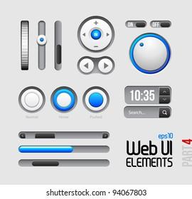 Web UI Elements Design Gray Blue: Part 4