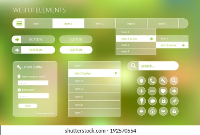 web ui elements suitable for flat design, transparent on green blurry background, vector illustration, eps 10 with transparency and gradient mesh