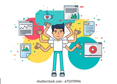 Web UI UX Designer with cup,design, seo, web tools for app, page, template, document, framework. Creative employee with many hands is working on application, programming, website development. Vector