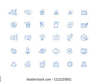 Web vector blue icons set