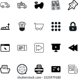 web vector icon set such as: buttons, basket, equipment, correspondence, fun, filmstrip, clinic, stub, needle, reel, invention, glow, safety, arch, ambulance, ring, menu, pin, happy, card, click