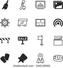 web vector icon set such as: street, map, man, hanging, blank, gallery, offer, mail, fashion, glove, place, subscribe, roadblock, pic, boundary, premium, template, package, thread, hand, old, info