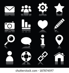 Web vector  icons in white isolated on black